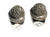 Sterling Silver Genuine Marcasite Thimble Open Hoop Earrings