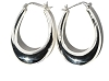 Sterling Silver Long U Puffed Hoop Earrings