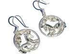 Sterling Silver Unicorn in Circle Pendant Earrings