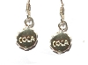 Sterling Silver Coca Bottle Cap Earrings