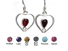 Sterling Silver Hand-Made Genuine Stone Heart Earrings
