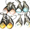 Sterling Silver Genuine Shell Inlay Filigree Teardrop Earrings