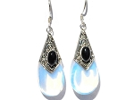 Sterling Silver  Man Made MoonStone and Black Onyx Tear Drop Earrings