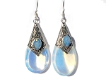 Sterling Silver Man Made MoonStone and Opal Doublet TearDrop Earrings