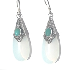 Sterling Silver Man Made MoonStone and TurquoiseTearDrop Earrings