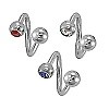 Body Piercing Jewelry - Spiral Crystal Stone 14g/12mm-lg/6mm-bl
