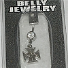 Maltese Cross Belly Jewelry with Clear Crystal 316L 14g