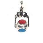 Sterling Silver Lovers Claddagh Spinning Stone Ball Pendant