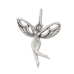 Sterling Silver Dancing Winged Fairy Nymph Pendant