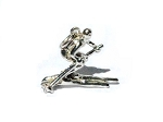 Sterling Silver Racing Skiing Snow Skier Charm Pendant