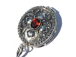 Sterling Silver Hand Made leaf design Prayer Box Pendant w/ Garnet
