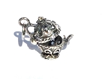 Sterling Silver Filigree Teapot Poison/Prayer Box Pendant