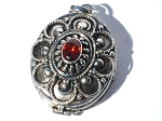 Sterling Silver  Prayer Box Pendant with Facet Garnet.