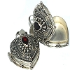 Sterling Silver Bali Heart Shape Prayer Box with Garnet