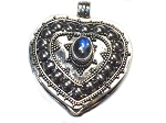 Sterling Silver Bali Heart Prayer Box Pendant with Rainbow Moonstone
