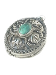 Sterling Silver Bali Oval Leaf Turquoise Prayer Box Pendant
