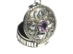 Sterling Silver Bali Oval Leaf Large Amethyst Prayer Box Pendant