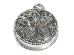 Sterling Silver Bali Round Flower Petal Pill Prayer Box Pendant