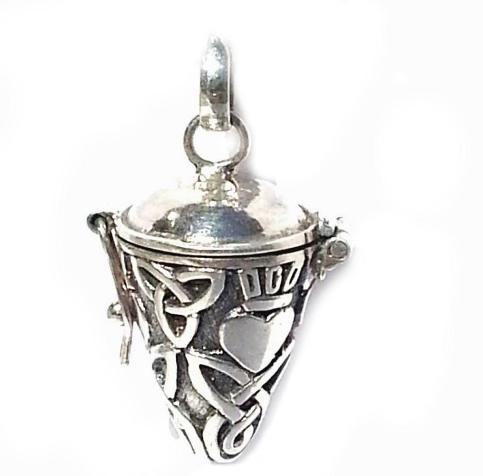 sterling silver celtic cone pendulum prayer box pendant