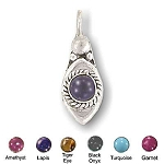 Sterling Silver Hand-Made Genuine Stone Pendants