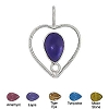 Sterling Silver  Hand-Made Heart Genuine Stone Pendant
