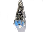 Sterling Silver Wand Man Made Moonstone Black Onyx Pendant