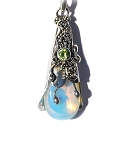 Sterling Silver Wand Pendant with Man Made Moonstone and Peridot CZ