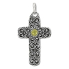 Sterling Silver Bali Hand-Made Genuine Amber Cross Pendant