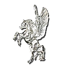 Sterling Silver Diamond Cut 3-D Pegasus Pendant