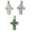 Sterling Silver Cats Eye Beaded Cross Pendant