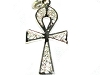 Sterling Silver 925 Diamond Cut Filigree Ankh Pendant