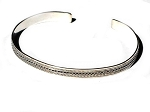 Sterling Silver Hand Crafted Swirl Center between Dots Cuff Bracelet