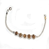 Sterling Silver 7 1/2 Inch Bracelet with Tigers Eye Stones
