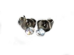 Stainless Steel 3mm CZ Cubic Zirconia Stud Earring