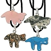 Hand carved Cat Stone Pendant - assorted Stones Sold by Piece
