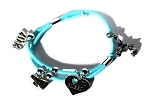 Light Blue 2013 Cheerleader Bracelet with 4 cheer leading Charms