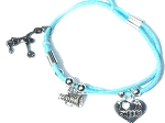 Light Blue Cheerleader Bracelet with 3 cheer leading Charms