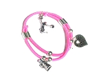 Pink Cheerleader Bracelet with 3 cheer leading Charms