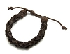 Brown Adjustable Braided Cowhide Leather Bracelet with Wax Cord