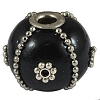 Handmade Black Indonesia Bead decorated with Silver 3.3 Hole