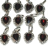 Heart Pendants w/ Dark Ruby Red Faceted Glass Stone - 12 in a pack