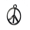 Light Black Peace Symbol Charm Pendant