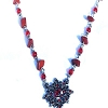 Fashion Necklace with Red Nuggets, Beads with Petal Pendant