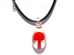 Mushroom captured in Murano Glass on Rubber Necklace