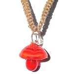 Hemp Choker Necklace with Orange Glass Mushroom Pendant