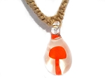 Orange Mushroom in Murano glass pendant on Hemp Choker Necklace