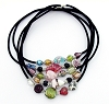 17.5 inch Black Necklace with Magnetic Clasp & mixed lampwork beads