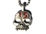 Skull with Red 13 on a 18 inch Ball Neck Chain Necklace
