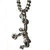 Jumping Cheerleader with Pom Poms on Stainless Steel Necklace