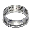 Men's 316L Stainless Steel Tribal Engraved 8 mm Band Ring